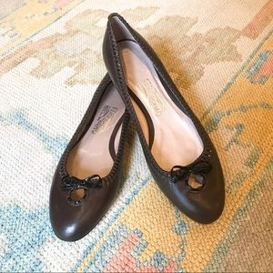 Ferragamo Brown Leather Flats NWT.